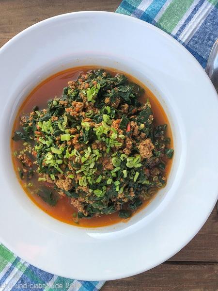 Hackfleisch-Curry mit Spinat