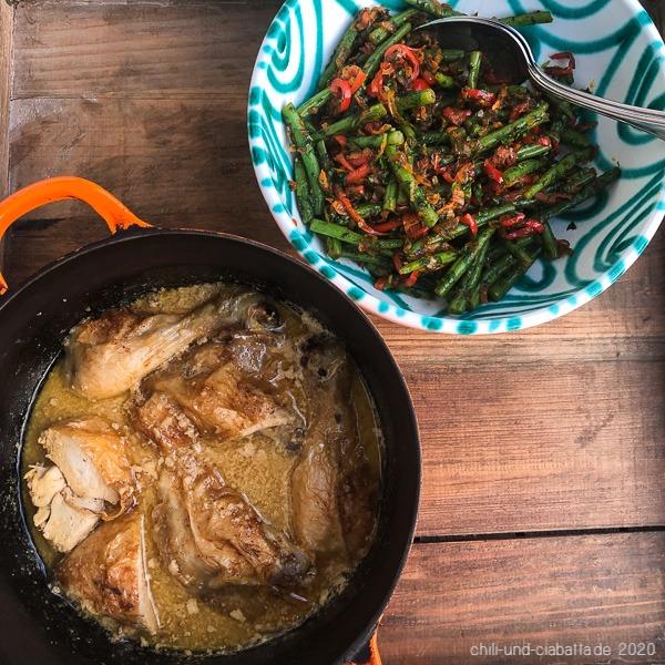 Schqmeruli und Bohnen-Paprikasalat