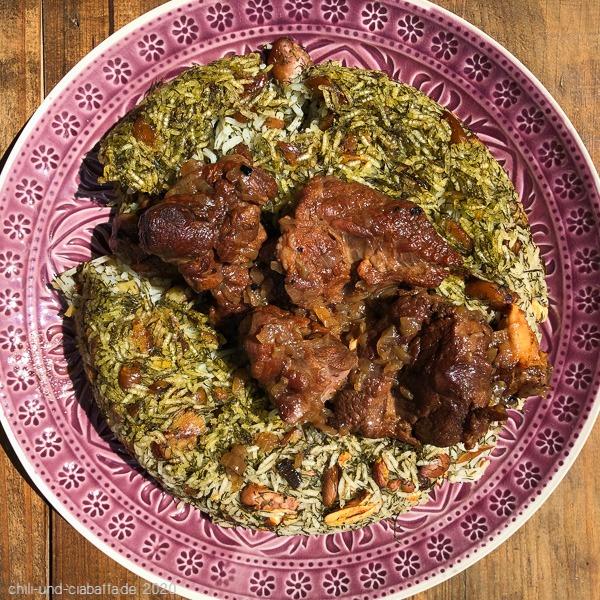 Geschmorter Lammhals mit persischem Reis