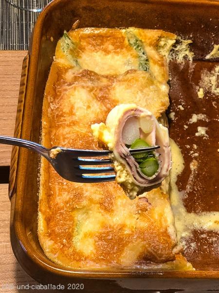 Überbackene Spargel-Schinken-Cannelloni