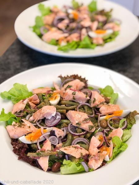 gebratener Wildlachs auf Bohnensalat