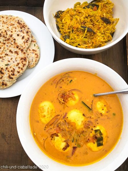 Eier-Curry, Lauch und Pol Roti